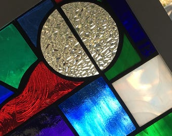 Modern Stained Glass Window Panel Multicolored in Wood Frame
