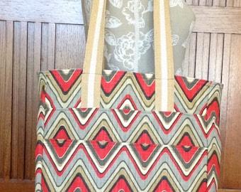 Tote Bag Shopper Market Large Linen Shoulder Strap Pockets Lined - Red Gray
