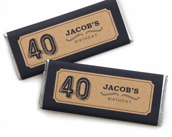 40th Milestone Birthday - Aged to Perfection - Custom Candy Bar Wrappers - Personalized Birthday Party Favors - Set of 24