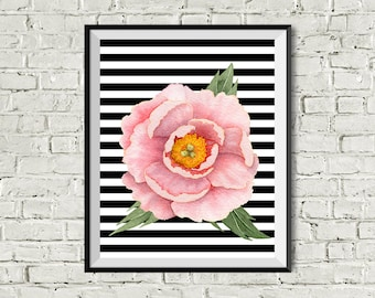 Pink peony, watercolor flower print, gift for female, friend, daughter, mother, wife, black and white stripes, instant download, watercolor
