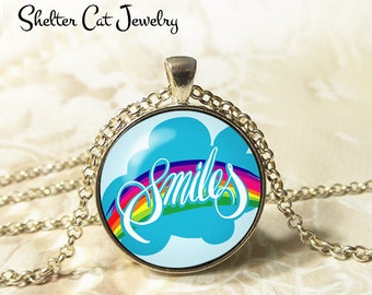 "Smiles Necklace - 1-1/4"" Circle Pendant or Key Ring - Wearable Photo Art Jewelry - Happy, Joy, Inspire, Motivation, Inspiration Gift for Her"