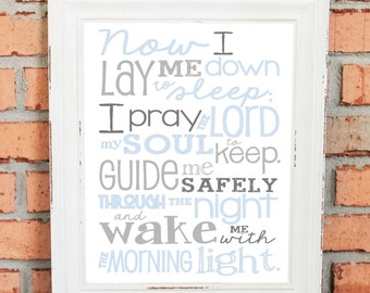 DIGITAL FILE - Now I Lay Me Down to Sleep Prayer – Boy – Bedroom – Newborn Boy - Pale Blues and Grays - Baptism Gift