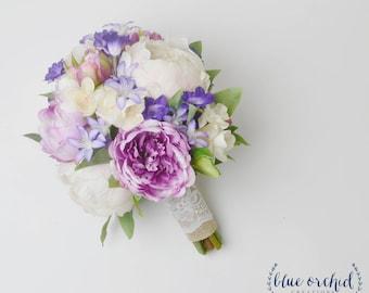 Bridal Bouquet, Wedding Bouquet, Bridal Bouquet, Wedding Flowers, Artificial Bouquet, Purple, Peony Bouquet, Boho Bouquet, Beach Bouquet