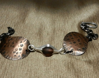 TEXTURED COPPER with Sea Glass Focal with Chain