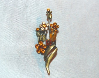 Flower Rhinestone Brooch, Amber Gold, Vintage old jewelry