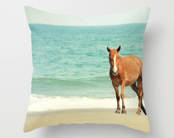 Wild Mustang of Carova, NC, beach, horse, nature, coast, sea, ocean, Home Decor, Decorative, Throw Pillow, Pillow, Photography, Custom Art