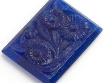 Vintage Bohemian molded glass cabochon in lapis blue Gablonz 1920s 20x15mm 1 pc. b5-764(e)
