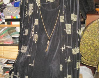 Vintage Woman's DRESSBARN 22W Black & Gold Geometric Square Blouse/Tank and Necklace Built as One...JMFCL1