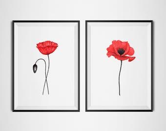Poppy painting set of 2 prints, floral art print sets, botanical prints, floral bedroom prints, wall painting, red poppies wall art print