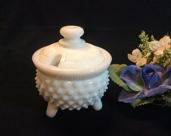 Vintage Fenton Mustard Kettle With Lid Hobnail White Milk Glass # 3979 1954-1956
