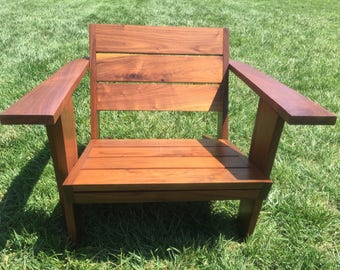 Black walnut modern patio chair.