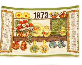 Vintage 70s Calender Tea Towel Retro Boho Wall Hanging Kitchen Decor