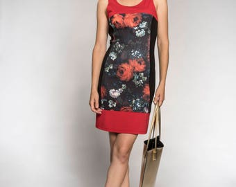 Floral dress - Women's dress - Black dress with flower - A Line  - - Made in Quebec - Black and red dress