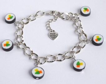 Cute sushi maki charm bracelet sushi gift sushi charms Japanese kawaii bracelet sushi lover gift sushi present handmade
