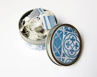 Tea Tin, Blue and White