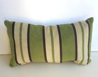 Lumbar Pillow Made from Peter Dunham Almont Stripe Velvet Green Fabric with Linen Back