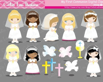 First Communion Clipart / girl 1st communion digital clipart / INSTANT DOWNLOAD  (CG010)