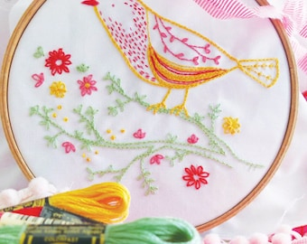 Embroidery kit beginner, Bird on branch, Hand embroidery kit - Yellow Bird - Diy kit, Modern embroidery kit, Craft kit, Gift diy