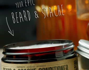 BEARD & STACHE CONDITIONER - Whiskey Bourbon Caramel~organic beard conditioner~beard care~mens care~facial hair beard softener~for him