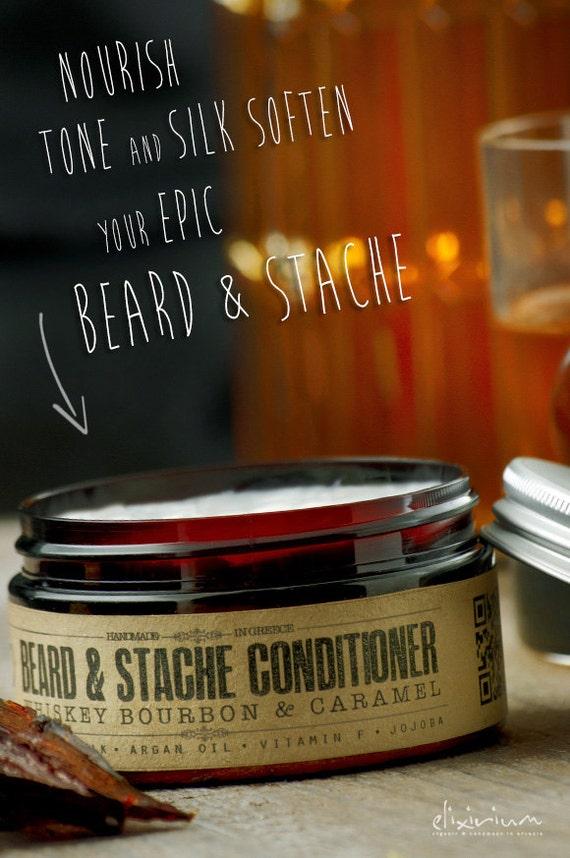 BEARD & STACHE CONDITIONER - Whiskey Bourbon Caramel~organic beard conditioner~beard care~mens care~facial hair beard softener~for him