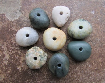 COLORFUL Drilled Beach Stones Beads Natural Stone Beads Spacers 3mm