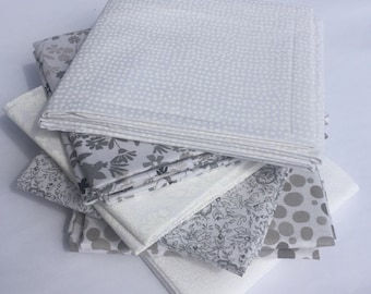 White and Gray Fat Quarter Fabric Bundle