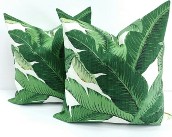 PALM PILLOW. Green Pillow cover. Indoor.outdoor. Set of 2 Green and  white pillow cover.18x18.Designer pillow.cushion cover