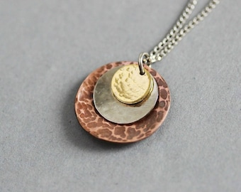 Mixed Metal Necklace Metal Layered Necklace Hammered Metal Necklace Metal Pendant  Boho Necklace  Minimalistic Jewelry Unique Gift for her