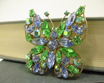 Regency Vintage Blue & Green Rhinestone Butterfly Brooch w/ Aurora Borealis Crystals
