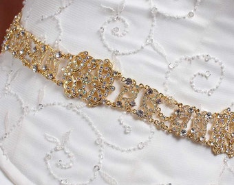 Gold Sash - Bridal Belt - Bridal Sash - Gold Belt - Wedding Sash - Wedding Belt - Prom Belt - Prom Sash - Crystal Sash - MICHELLE