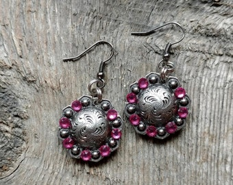Chunky Western Glam- Antique Silver Concho Drop Earrings with Pink Rhinestones