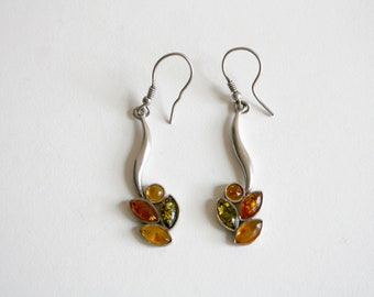 Sterling Multi Colored Amber Drop Earrings