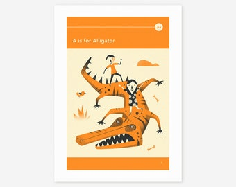 A is for ALLIGATOR (Giclée Fine Art Print/Photo Print/Poster Print) by Jazzberry Blue