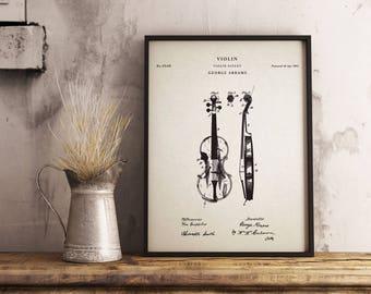 Violin patent print art - Vintage printable patent poster artwork drawing-Instant Digital download - Wall art decor - Blueprint