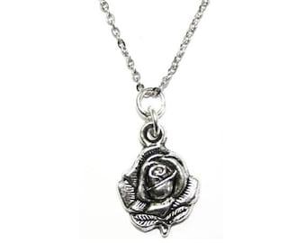 Rose Charm Silver Pendant Floral Necklace
