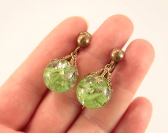 Green Ball Earrings Drop Earrings Lime Green Earrings Green Glass Earrings Beach Party Clip On Earrings 1970s Jewelry Green Bronze Earrings