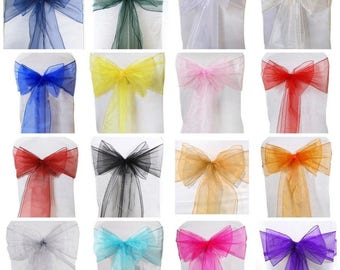 ORGANZA Chair SASHES Beautiful Slipcover Decoration Fullers Bow Sash Wedding Party Event