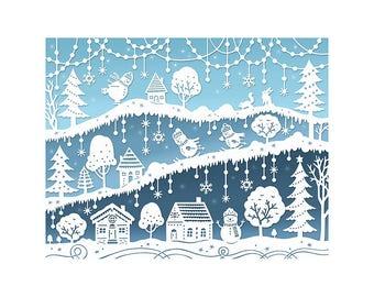 8x10 Print - Snow Day - Original Papercut Illustration - Snowmen