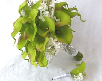 Green Calla lily wedding bouquet simple elegant Real touch mini green calla lily and creme lilac bridal bouquet