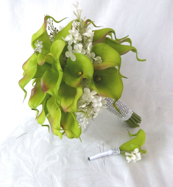 Wedding Bouquets Ideas Simple: Green Calla Lily Wedding Bouquet Simple Elegant Real Touch