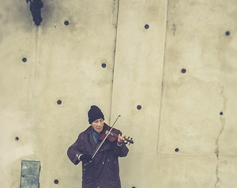 """Street Busker Art Print, Violin Player Photography, Playing for Money Fine Art Photography, """"The Lonely Busker"""""""