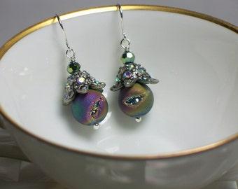 Druzy Earrings, Gemstone Earrings, Drop Earrings, Silver tone, Jewellery, Jewelry, Fashion Jewelry, Rhinestone, Green, Purple, Blue