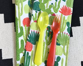 Reusable Cloth Lunchbox Napkins 8x8 - Cactus - Great for back to school kids, ecofriendly set of 2 - Reusable Napkin Lunch Box Napkin