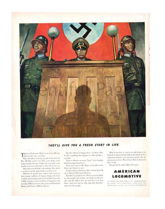 1943 americano locomotora Vintage Ad anuncio de la segunda