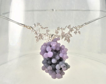 Purple botryoidal chalcedony necklace  sterling silver grape leaf festoon  silver grey leather cord