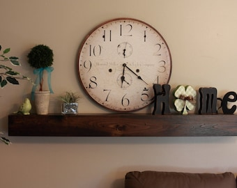 "Fireplace Mantle Wood Wall Shelf - Beam Style in lengths of 36"" 48"" 60"" 72"" and 84""- Fireplace Mantel"