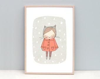 Kids Art Prints Animals, Kitten Illustration, Baby Nursery Art, Kids Wall Art, Nursery Decor Art, Orange, Cat, Kitten, Animal,  Large Art