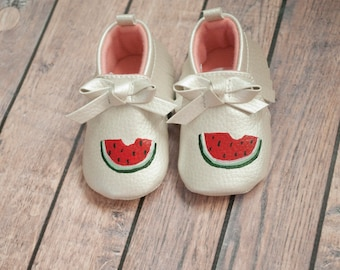 Watermelon Hand Painted Moccasins