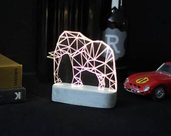 Concrete Elephant lamp, SAFARI decorative lamp, Geometric LED table lamp, animal night light