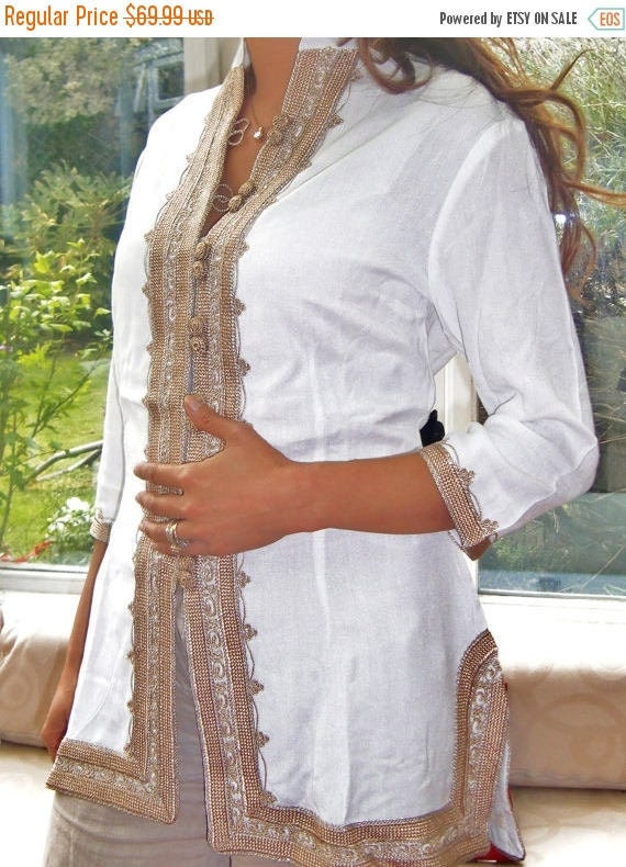 White Shirt Tunic Handmade White & Gold Moroccan Tunic, Embroidered Tunic, Shirt, Ramadan, Eid, Resort wear, bohemian, boho